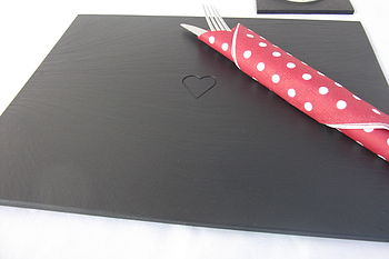 Heart Engraved Welsh Slate Placemats