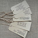Set Of Ten Wedding Favour Gift Tags