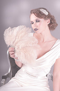 Mattie Art Deco Champagne Ostrich Feather Fan - wedding dresses & accessories