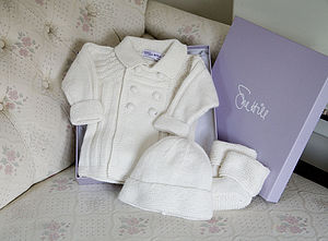 Double Breasted Jacket Hat And Booties Set - babies' hats