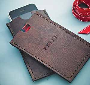 Hand Stamped Leather Case For Iphone - phone & tablet covers & cases