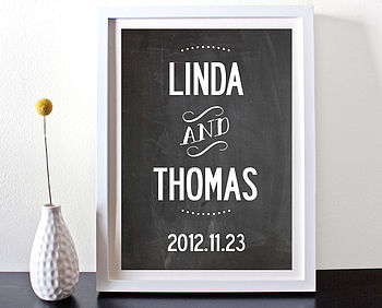 Personalised Names And Date Keepsake Print