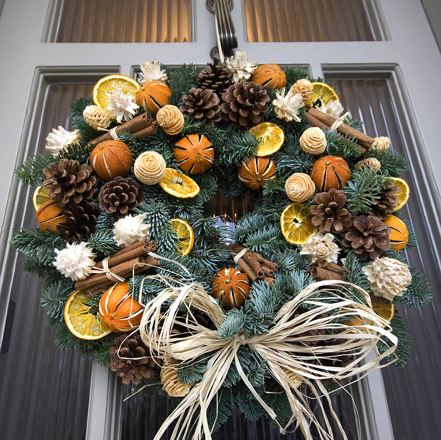 Christmas Scented Fresh Fir Door Wreath By The Flower