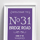 Personalised Address And Family Name Print