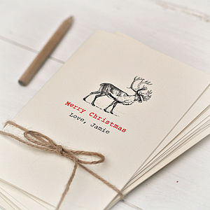 Personalised Reindeer Christmas Card Pack - cards