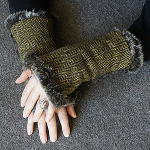 Harris Tweed Wrist Warmers - women's accessories