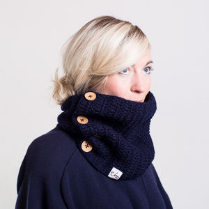 Chunky Button Cowl Scarf