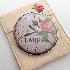 Personalised Clock Pocket Mirror - beauty & pampering