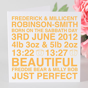 Personalised Baby Twins Card & Optional Tag