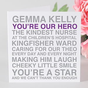 Personalised 'You're My Hero' Card - mother's day cards