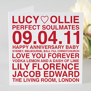 Personalised Anniversary Card - anniversary gifts