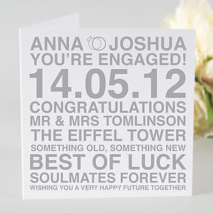 Personalised Engagement Card - wedding cards
