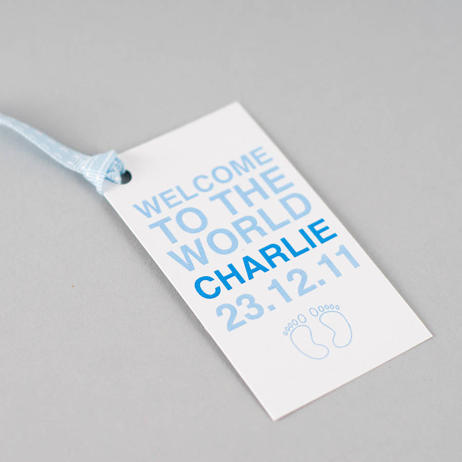 New Baby Boy Gift Tag : Personalised baby boy girl twins gift tag by megan
