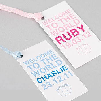 Personalised Baby Boy, Girl & Twins Gift Tag