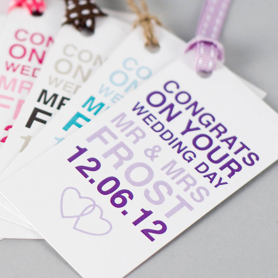 Personalised Wedding Day Gift Tag By Megan Claire
