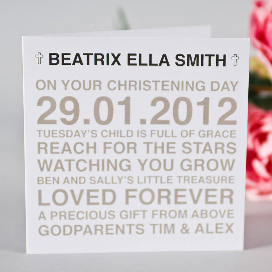 personalised christening card by megan claire | notonthehighstreet.com