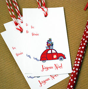 Pack Of 10 French Car Christmas Gift Tags - cards & wrap