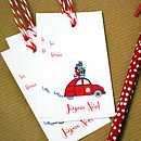 Pack Of 10 French Car Christmas Gift Tags