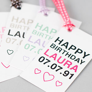 Personalised Her Birthday Gift Tag - birthday labels & tags