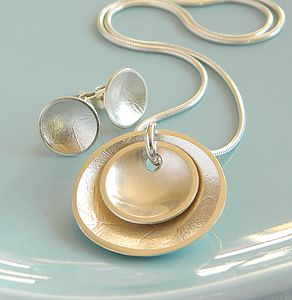 Silver Dish Pendant And Earrings Set