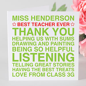 Personalised 'Best Teacher Ever' Card & Tag - thank you cards