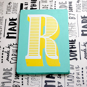 Letter R Screen Printed Wooden Block - room decorations