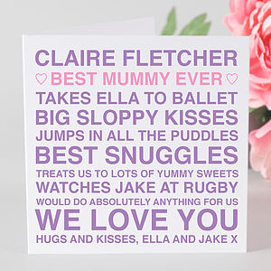 Personalised 'Best Mummy Ever' Card - cards & wrap