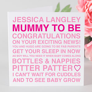 Personalised Mummy To Be Card & Tag - finishing touches