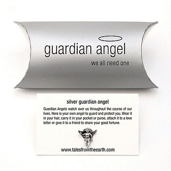 Sterling Silver Guardian Angel Pin Brooch