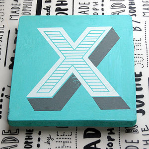Seconds X Screen Printed Wooden Block - decorative letters