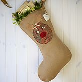 Personalised Vintage Style Rudolph Stocking - christmas decorations