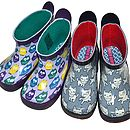 Child's Owl Wellington Boots