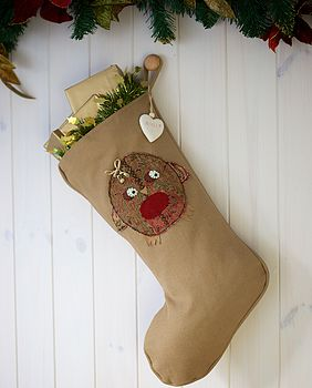 Personalised Vintage Style Robin Stocking