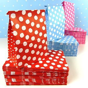 Bundle Of Spotty Paper Bags - party bags and ideas