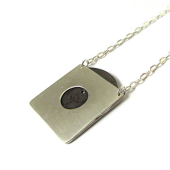 Goojah Silver Vinyl Record In Sleeve Necklace