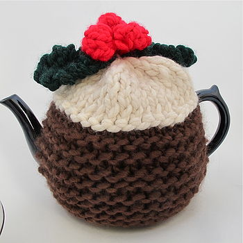 Christmas Pudding Hand Knitted Tea Cosy