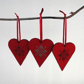 Set Of Three Wool Felt Heart Decorations