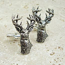 Wild Stag Cufflinks Antiqued Pewter