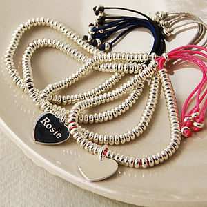 Friendship Bracelet With Silver Heart Charm - women's jewellery