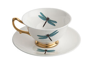 Dragonflies Teacup And Saucer - crockery & chinaware