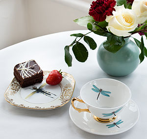 Dragonflies Teacup And Saucer - kitchen