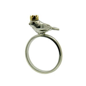 Bird King Ring. Silver, Gold & Black Diamond - women's jewellery