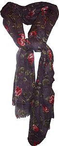 Susie Wool Scarf With Red Roses - scarves & gloves