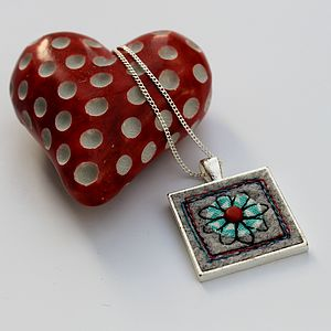 Embrodered Flower Necklace - necklaces & pendants