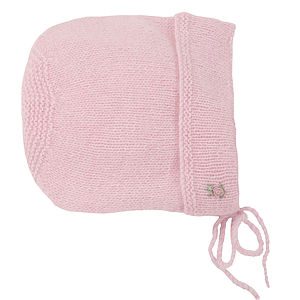 Hand Knitted Cashmere Roses Bonnet