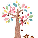 Forest Friends with Brown Squirrel Wall Sticker