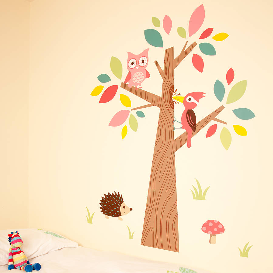 forest friends wall stickers by the little blue owl. Black Bedroom Furniture Sets. Home Design Ideas
