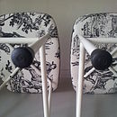 Steel Stools Upholstered In Toile