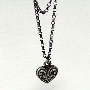 Oxidised Silver Heart Pendent