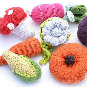 Knitted Vegetable Rattle Toy - rattles & teethers